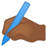 Writing Hand: Medium-Dark Skin Tone on Google Android 11.0 December 2020 Feature Drop