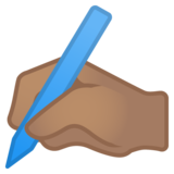 Writing Hand: Medium Skin Tone on Google Android 11.0 December 2020 Feature Drop