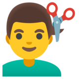 Man Getting Haircut on Google Android 12.0