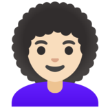 Woman: Light Skin Tone, Curly Hair on Google Android 12.0