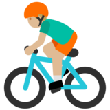 Person Biking: Medium-Light Skin Tone on Google Android 7.0