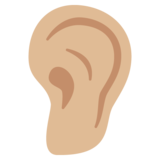Ear: Medium-Light Skin Tone on Google Android 7.0