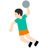 Person Playing Handball: Light Skin Tone on Google Android 7.0