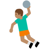 Person Playing Handball: Medium Skin Tone on Google Android 7.0