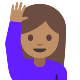 Person Raising Hand: Medium Skin Tone on Google Android 7.0