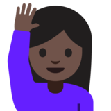 Person Raising Hand: Dark Skin Tone on Google Android 7.0
