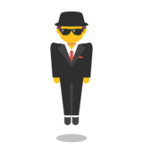 Person in Suit Levitating on Google Android 7.0