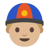 Man With Chinese Cap: Medium-Light Skin Tone on Google Android 7.0