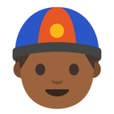 Man With Chinese Cap: Medium-Dark Skin Tone on Google Android 7.0