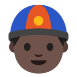 Man With Chinese Cap: Dark Skin Tone on Google Android 7.0