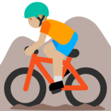 Person Mountain Biking: Medium-Light Skin Tone on Google Android 7.0