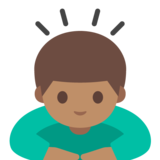 Person Bowing: Medium Skin Tone on Google Android 7.0