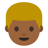 Person: Medium-Dark Skin Tone, Blond Hair on Google Android 7.0