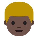 Person: Dark Skin Tone, Blond Hair on Google Android 7.0