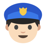 Police Officer: Light Skin Tone on Google Android 7.0