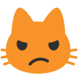 Pouting Cat Face on Google Android 7.0