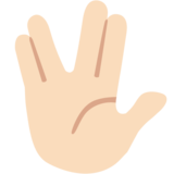 Vulcan Salute: Light Skin Tone on Google Android 7.0