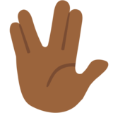Vulcan Salute: Medium-Dark Skin Tone on Google Android 7.0