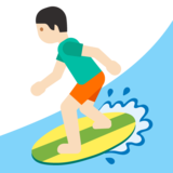Person Surfing: Light Skin Tone on Google Android 7.0