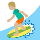 Person Surfing: Medium-Light Skin Tone on Google Android 7.0