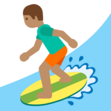 Person Surfing: Medium Skin Tone on Google Android 7.0