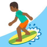 Person Surfing: Medium-Dark Skin Tone on Google Android 7.0