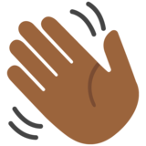 Waving Hand: Medium-Dark Skin Tone on Google Android 7.0