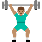 Person Lifting Weights: Medium Skin Tone on Google Android 7.0