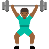 Person Lifting Weights: Medium-Dark Skin Tone on Google Android 7.0
