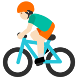 Person Biking: Light Skin Tone on Google Android 7.1