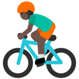 Person Biking: Dark Skin Tone on Google Android 7.1