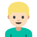 Man: Light Skin Tone, Blond Hair on Google Android 7.1