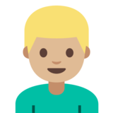Man: Medium-Light Skin Tone, Blond Hair on Google Android 7.1