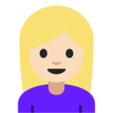 Woman: Light Skin Tone, Blond Hair on Google Android 7.1