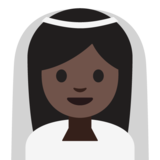 Person With Veil: Dark Skin Tone on Google Android 7.1