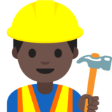 Construction Worker: Dark Skin Tone on Google Android 7.1