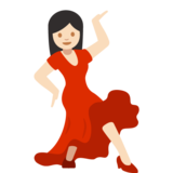Woman Dancing: Light Skin Tone on Google Android 7.1