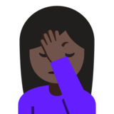 Person Facepalming: Dark Skin Tone on Google Android 7.1