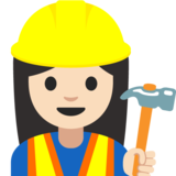 Woman Construction Worker: Light Skin Tone on Google Android 7.1