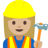 Woman Construction Worker: Medium-Light Skin Tone on Google Android 7.1
