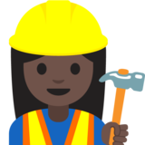 Woman Construction Worker: Dark Skin Tone on Google Android 7.1