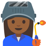 Woman Factory Worker: Medium-Dark Skin Tone on Google Android 7.1