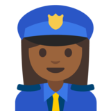 Woman Police Officer: Medium-Dark Skin Tone on Google Android 7.1