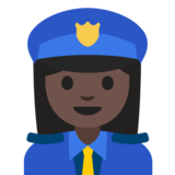 Woman Police Officer: Dark Skin Tone on Google Android 7.1