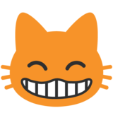 Grinning Cat with Smiling Eyes on Google Android 7.1