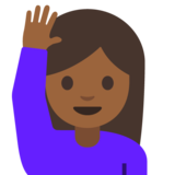 Person Raising Hand: Medium-Dark Skin Tone on Google Android 7.1