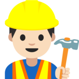 Man Construction Worker: Light Skin Tone on Google Android 7.1