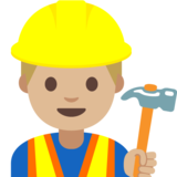Man Construction Worker: Medium-Light Skin Tone on Google Android 7.1