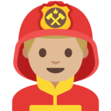 Man Firefighter: Medium-Light Skin Tone on Google Android 7.1