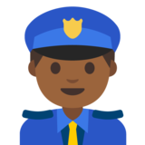 Man Police Officer: Medium-Dark Skin Tone on Google Android 7.1